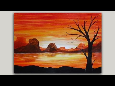Simple Acrylic Painting Volcano Island At Sunset And Tree Silhouette With Nature