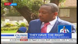 "Nairobi County Governor Mike Sonko: MCAs ""have the right to impeach anyone"""