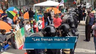 La Secretaría de Gobierno capitalina refirió que a los manifestantes se les solicitó usar cubrebocas, mantener sana distancia y cumplir con las medidas sanitarias ante la pandemia por Covid-19