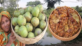 Farm Fresh Elephant Apple Pickle Recipe Tasty & Spicy Bengali Chaltar Achar Cooking Village Food