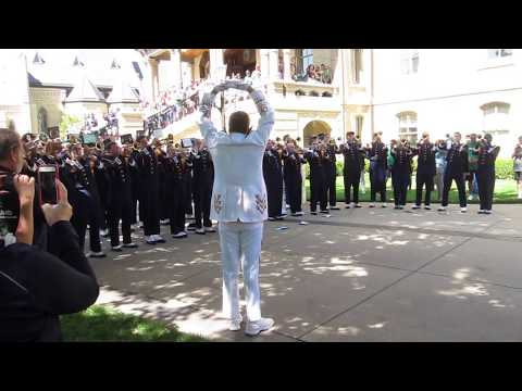 Notre Dame Trumpets & Temple Trumpets play both fight songs on Notre Dame's Campus 9-2-17