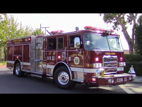 Costa Mesa Fire Dept. New Engine 83 Responding