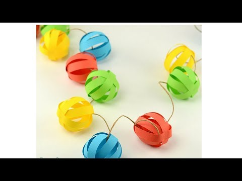 How to Make a Paper Ball Garland/Simple paper garlands/chrismast decorations/4kids chanel