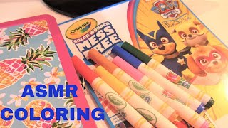 ASMR Kids - Coloring With Markers - Paw Patrol Coloring Book - Whispering - Page Turning