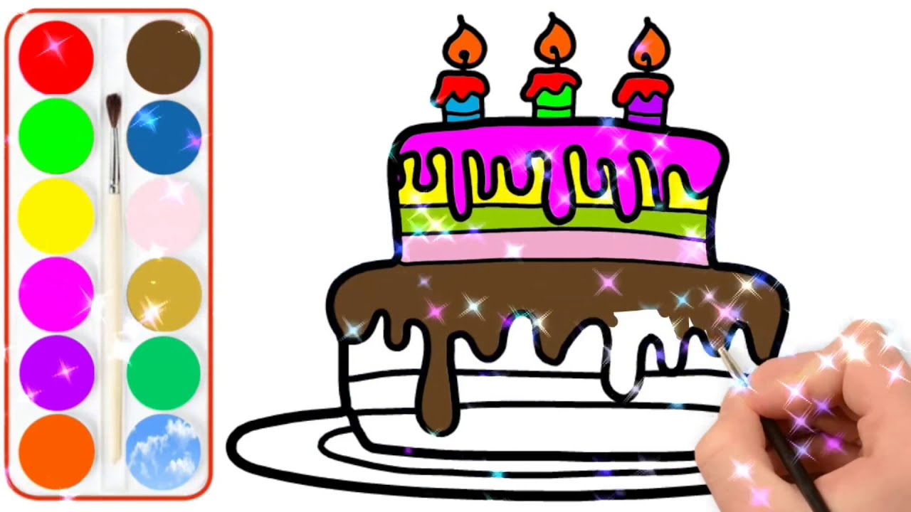 Glitter Birthday Cake Drawing And Coloring For Kids Pasta Boyama