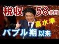 【政治ニュース】日本の税収58兆円超、バブル期以来の高水準