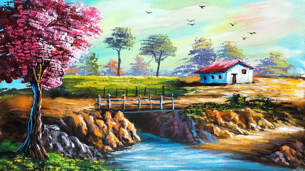 Easy Landscape Painting   Step By Step Painting Tutorial   How to Paint Landscape  Scenery Landscape