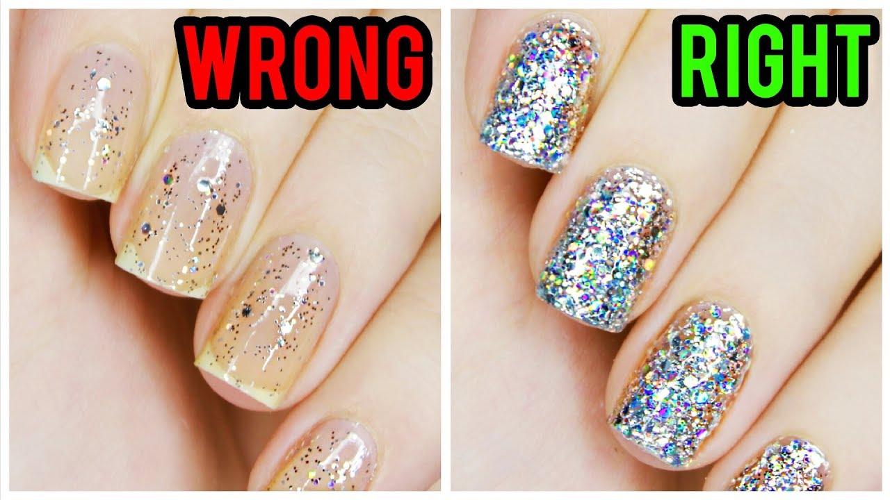Apply Glitter Nail Polish Perfectly! - YouTube