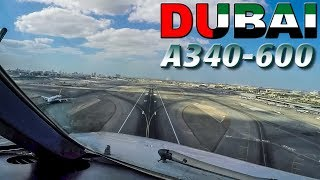 DUBAI Takeoff in Cockpit AIRBUS A340-600 (Pilotsview)