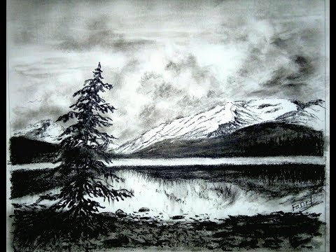 Charcoal landscape Drawing.Charcoal drawing Technique
