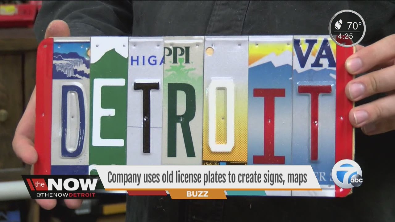 Company uses old license plates to create signs, maps - YouTube