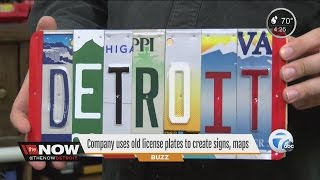 Company uses old license plates to create signs, maps