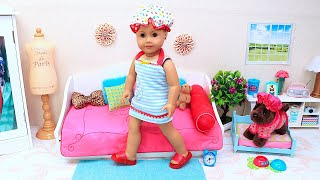 Baby Doll Morning Routine Story with Puppy