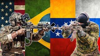 Simulação de Guerra na Venezuela - Brasil e EUA x Venezuela e Russia