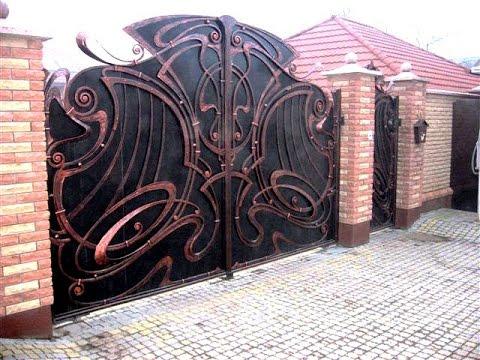 Красивые кованые ворота с калиткой ковка в Днепропетровске Днепре .