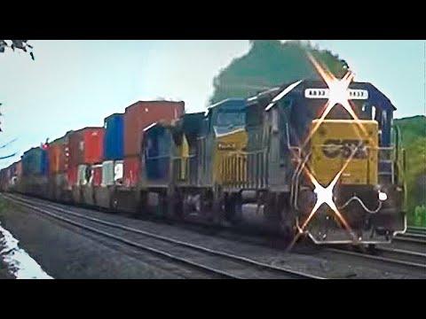 Cool Horn Sound Effects when 2 CSX Trains Meet