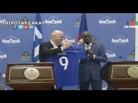 Prezidan Jovenel Moise Resevwa Prezidan FIFA a, Gianni Infantino nan Palais National