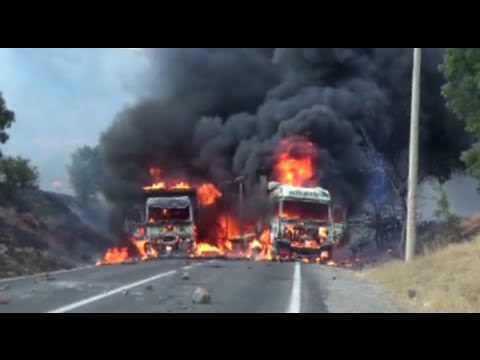 RAW: Trucks set ablaze by suspected Kurdish PKK militants, gunfire heard