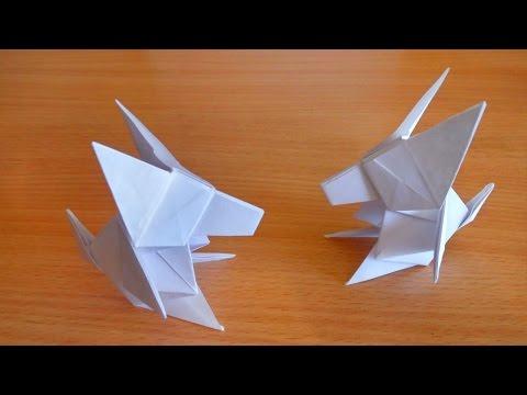 Оригами схема волк