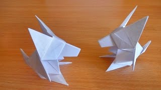 Волк оригами из бумаги для начинающих