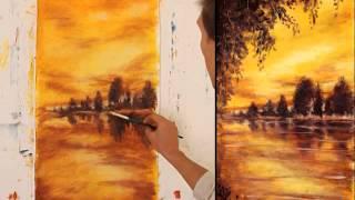 Как рисовать маслом — уроки живописи маслом. ПОЛНЫЙ урок ЗОЛОТОЙ ЗАКАТ. Как рисовать.