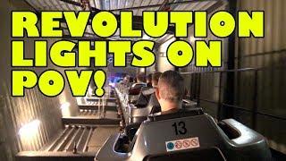 Revolution Roller Coaster Lights On POV Bobbejaanland Belgium