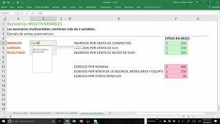 Escenarios multi variables en Excel