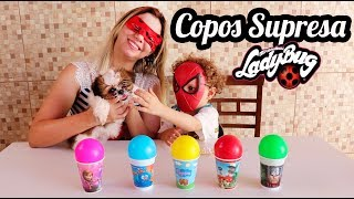 COPOS SURPRESA COM LADYBUG E HOMEM ARANHA