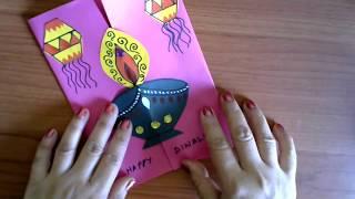DIY Diwali Card Making Ideas   Easy Handmade Decorative Diya Greeting Card