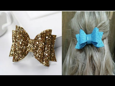 Hot to make glitter bow l foam sheet bow l hair accessories l handmade bow by crafts craze 🥰