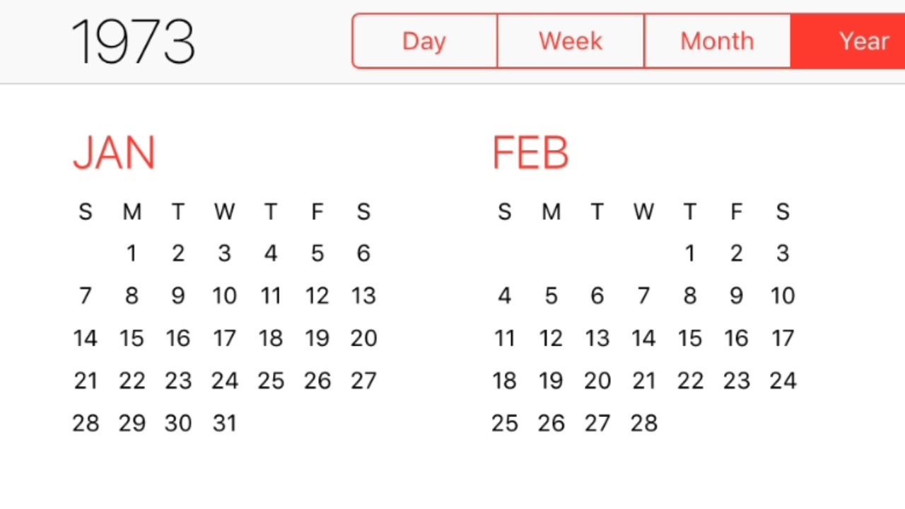 1973 Calendar Youtube