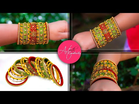 Make an awesome new bangle from old glass bangles | OLD BANGLE REUSE | New look | Silk thread bangle