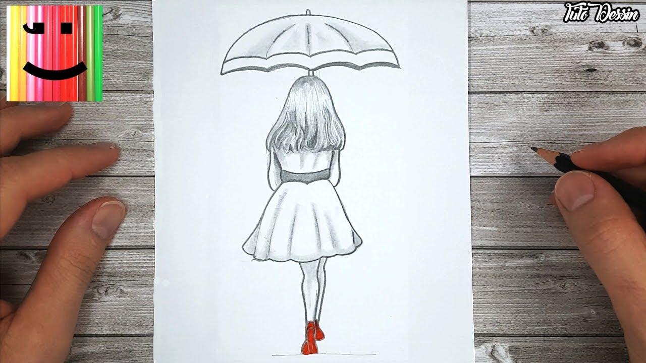 Comment dessiner une fille sous un parapluie pour les débutants | dessin  pas à pas - YouTube