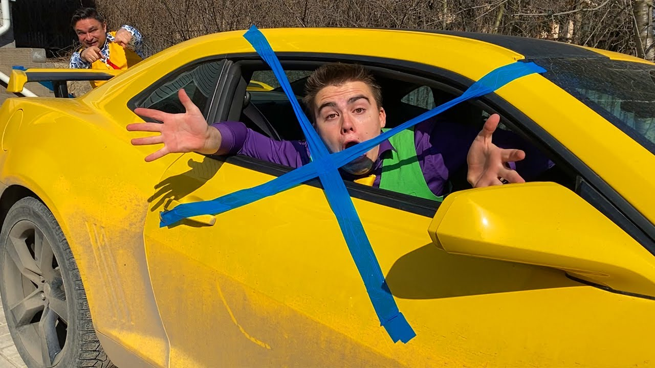 Older Mr. Joe taped Trunk Car with Scotch Tape VS Mr. Joe closed Camaro behind bars on Camaro 13+