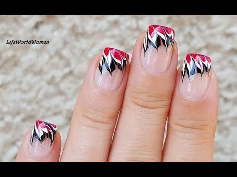 Black & White Dry Marble Flame Nails