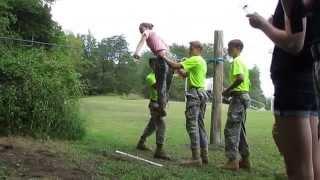 140830 Clarkrange Team One Coed Rope Bridge Construction