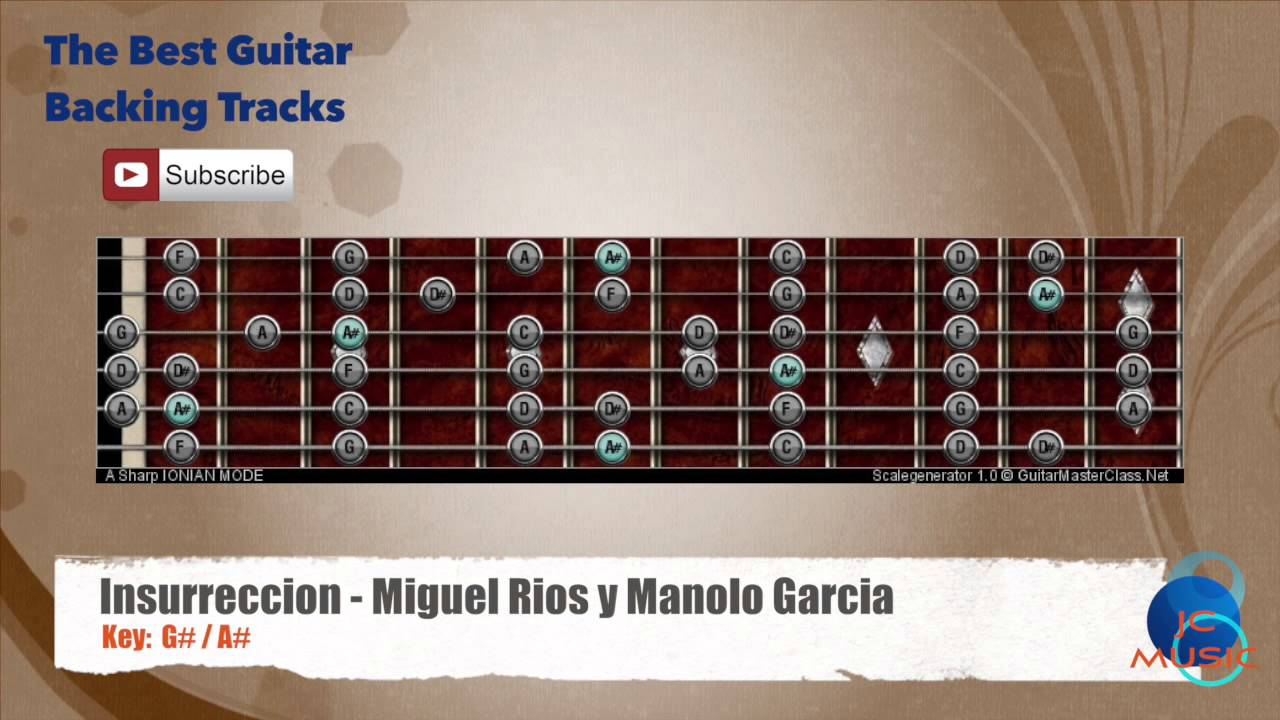 Best Songs Backing Tracks Bsbt Insurreccion Miguel Rios Y Manolo Garcia Guitar Backing Track With Scale Chart
