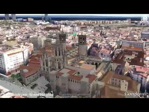Flight over Barcelona sights on Google Earth