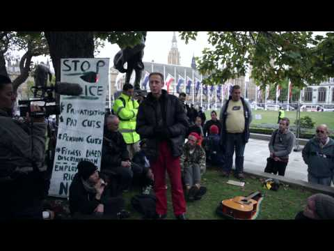Peter Tatchell -Talk:  Economic Democracy, and Q&A OCCUPY DEMOCRACY PARLIAMENT SQ 23-10-2014
