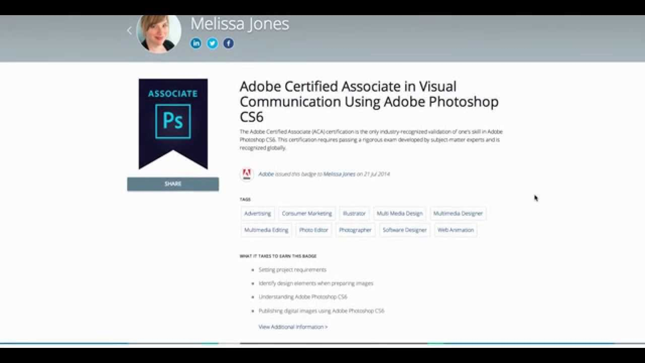 How To Share Your Adobe Certified Associate Digital Badge Via