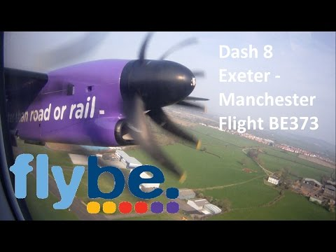 HD | Flybe Dash-8 Q400 flight | Exeter Airport to Manchester