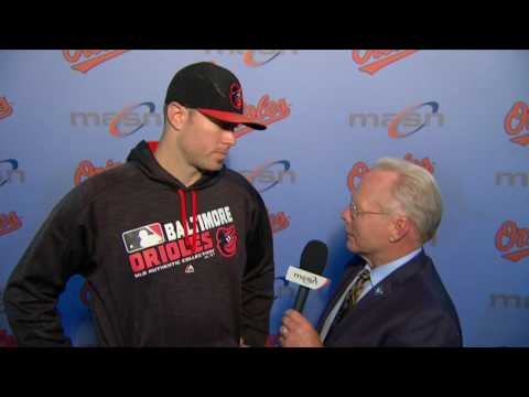 Chris Tillman talks with Gary Thorne after the O's win
