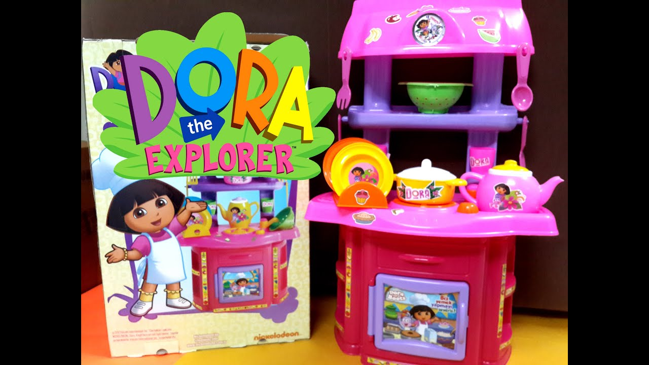 New Dora cartoon Full english Kitchen Pretend Playset Toys review