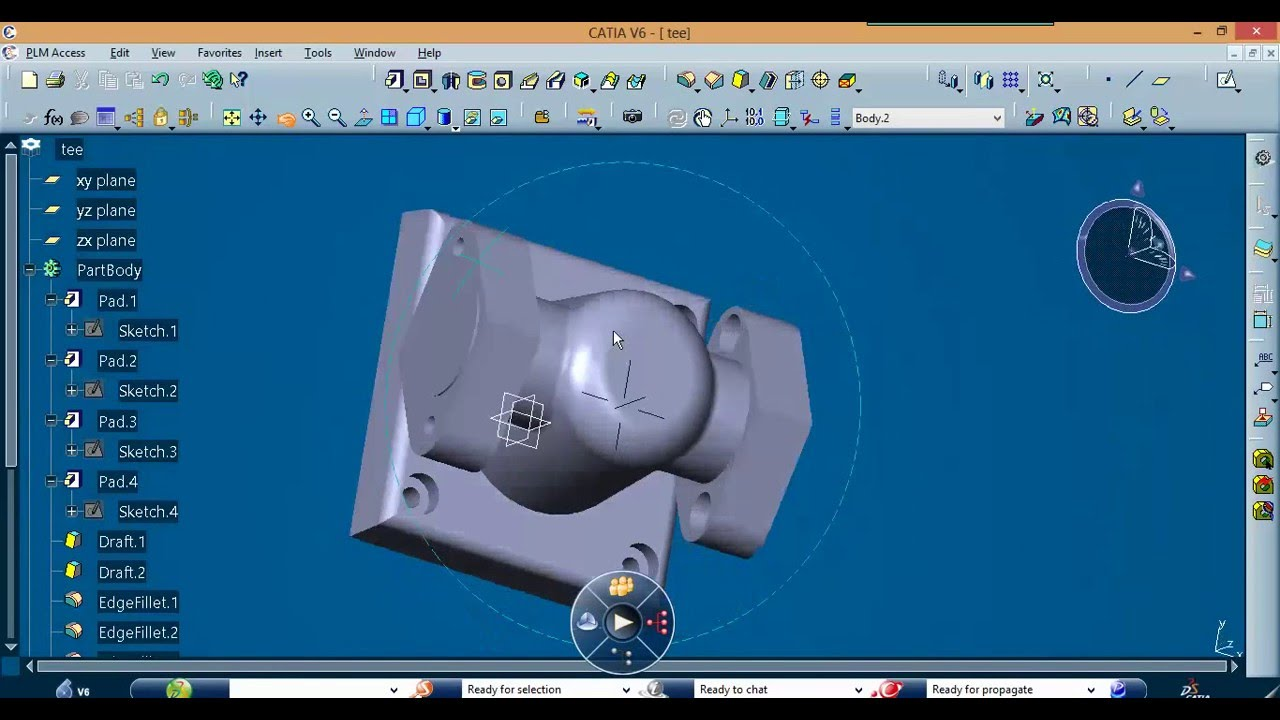 Design Of Tee Fitting Using Catia V6