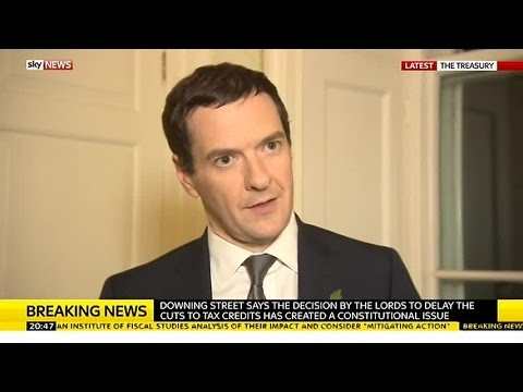 George Osborne Reacts To Government's Tax Credits Defeat