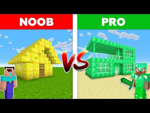 Minecraft NOOB vs PRO: EMERALD HOUSE vs GOLD HOUSE BATTLE in Minecraft!