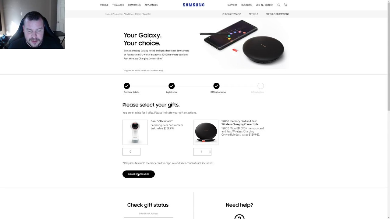 Galaxy Note 8 How to Redeem Free Gift Promotion via Desktop ...