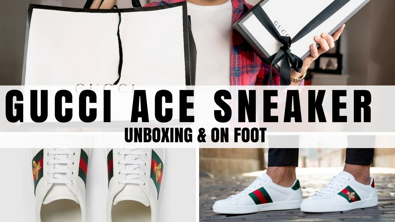 190563cfc00 Mens Gucci Ace Sneaker Unboxing   On Foot - YouTube