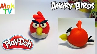 Как слепить Красную птицу Ред (Энгри бердс) из пластилина Плей До. How to make a Red Angry Birds.
