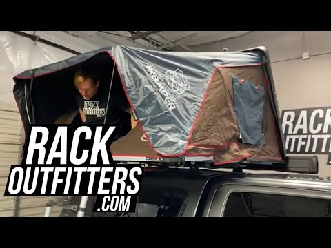 IKamper SkyCamp 2.0 Black Rocky Roof Top Tent Deployed And Stowed